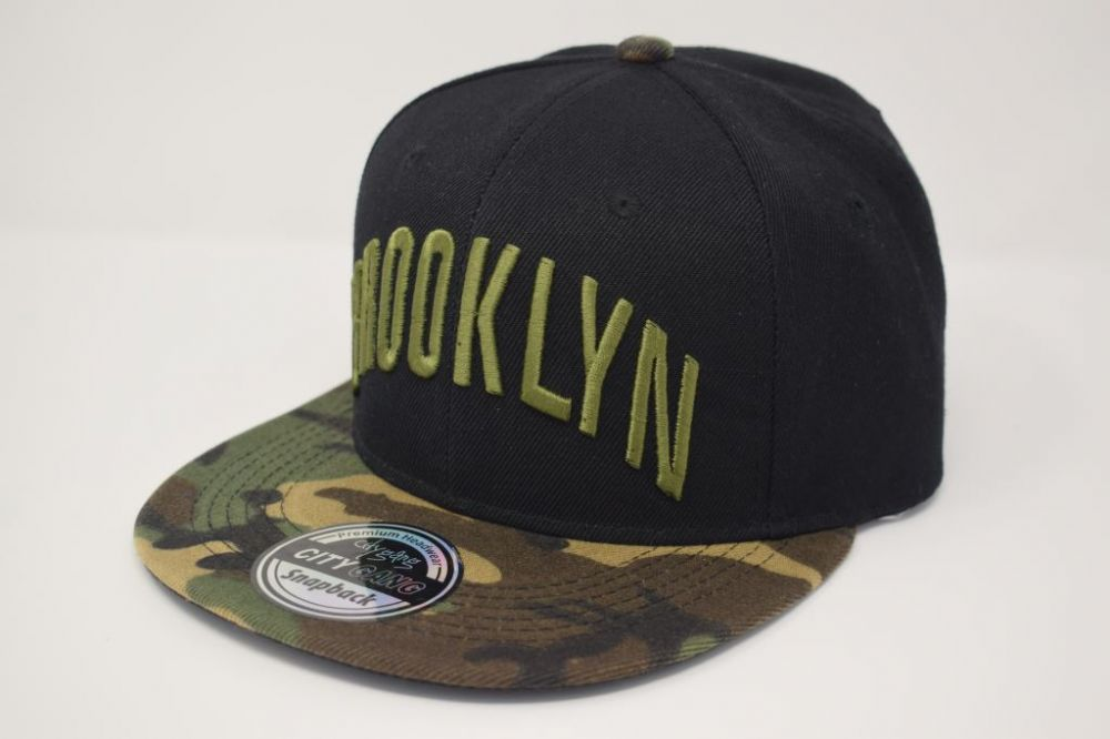 C4887- 'BROOKLYN' Black/Camouflage Snapback Caps, one size fits all adjustable